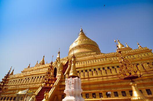 Shwezigon Paya Pagoda in Bagan, Myanmar.