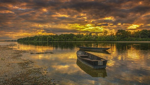 Beautiful sunset on the Loire River located in the Central France. Allong this river is the famous Loire Valley where are some of the most famous castles in the world.HDR image.