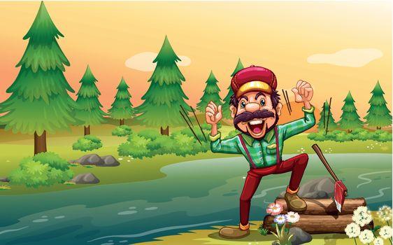 A happy lumberjack at the riverbank
