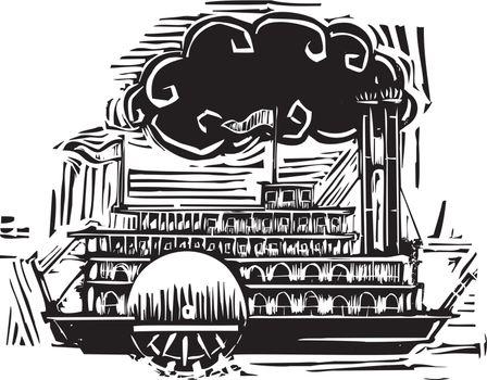 Woodcut Side wheel Steamboat