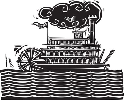 Woodcut style side wheel Mississippi river steamboat on stylized waves.