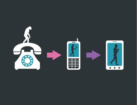 Telecommunication evolution. A vector illustration