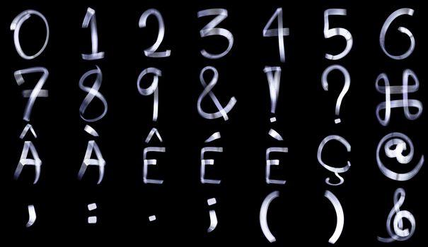 Light Painting Numeral Alphabet