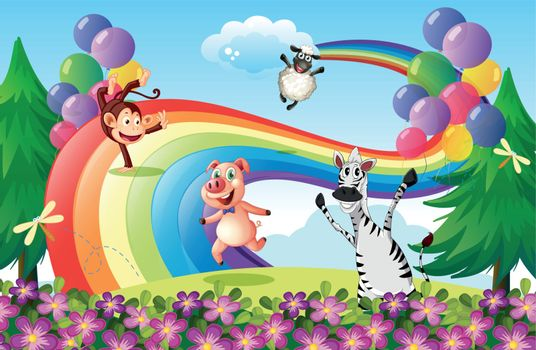 Illustration of the animals playing at the hilltop with a rainbow
