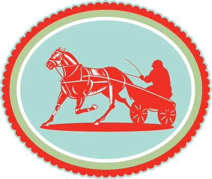 Horse and Jockey Harness Racing Rosette Retro