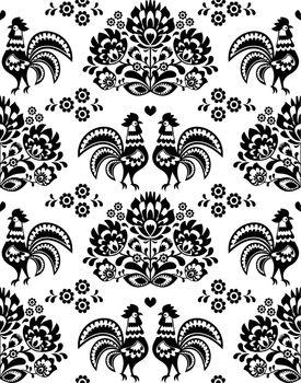 Seamless Polish, Slavic black folk art pattern with roosters - Wzory Lowickie, wycinanka