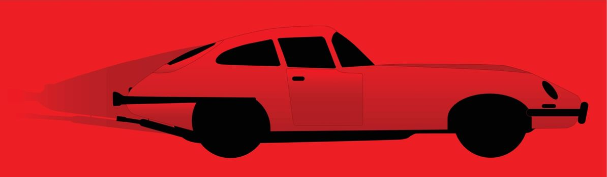 A speeding red British sports car on a red background