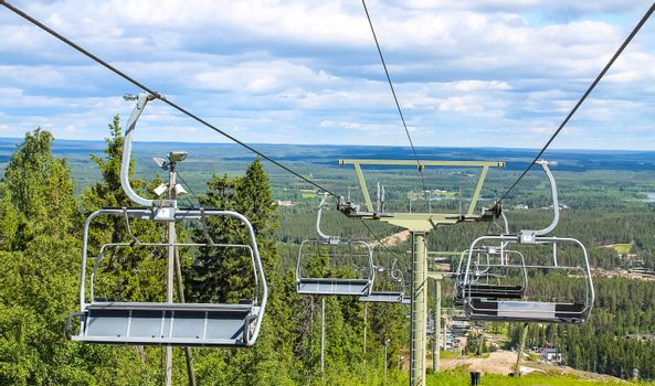 Ski lift in the summer