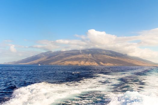 The island of Maui seen from the ocean