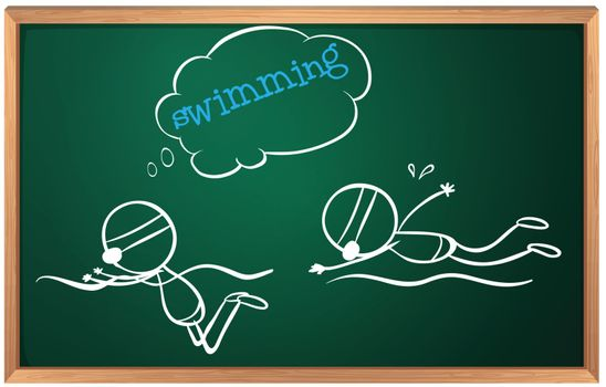 Illustration of a blackboard with a sketch of two people swimming on a white background