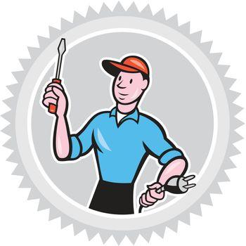 Electrician Screwdriver Plug Rosette Cartoon