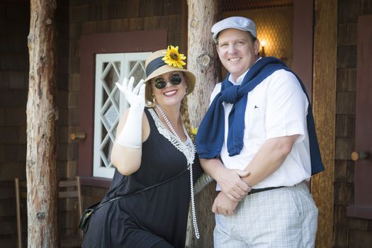 Attractive Couple Dressed in Outfits from the Twenties Era