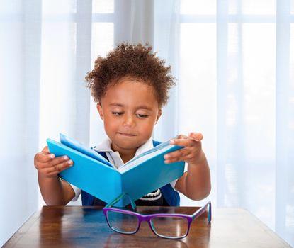 Little schoolboy read book