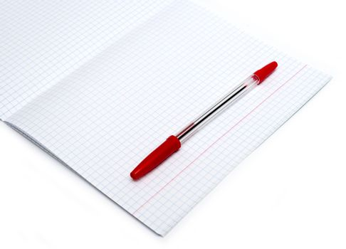 Open notebook with red pen isolated on white background
