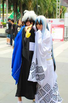 Bangkok - Aug 31: An unidentified Japanese anime cosplay Nura Rikuo pose  on August 31, 2014 at Central World, Bangkok, Thailand.