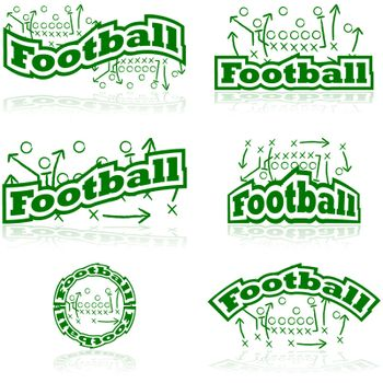 Icon set showing drawings from a football tactic board, paired with different representations of the word football