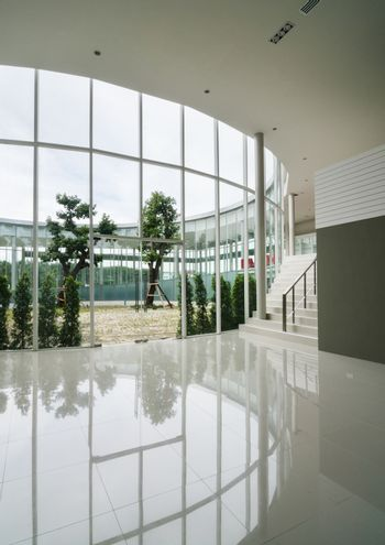 Glass wall of courtyard