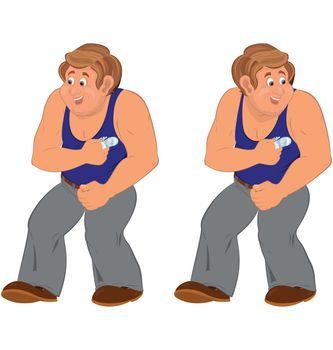 Happy cartoon man standing in blue sleeveless top injured