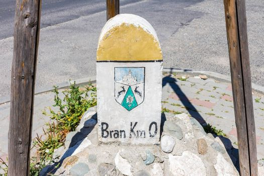 The famous milestone of the village Bran in Transylvania