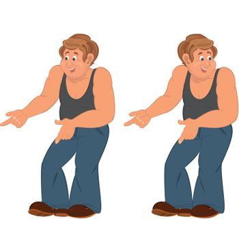 Happy cartoon man standing in sleeveless top and pointing