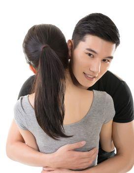 man hug his girlfriend