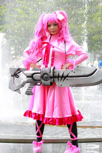 Bangkok - Aug 31: An unidentified Japanese anime cosplay Mine pose  on August 31, 2014 at Central World, Bangkok, Thailand.