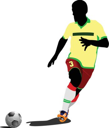 Football (soccer) players. Colored Vector illustration for designers