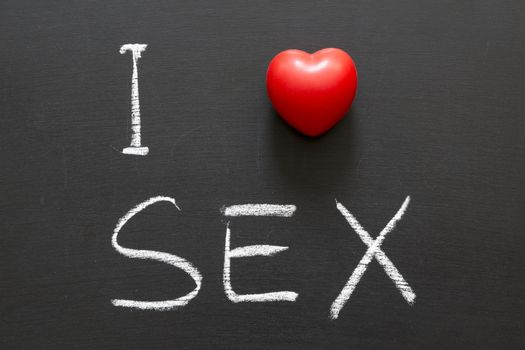 I love SEX handwritten on blackboard