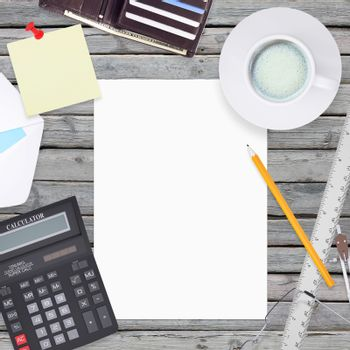 Office items including white paper