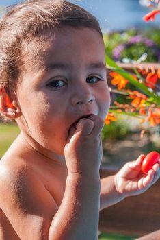 Little Girl Eating Tomato