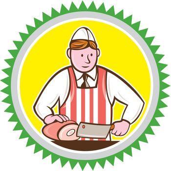 Butcher Chopping Ham Rosette Cartoon