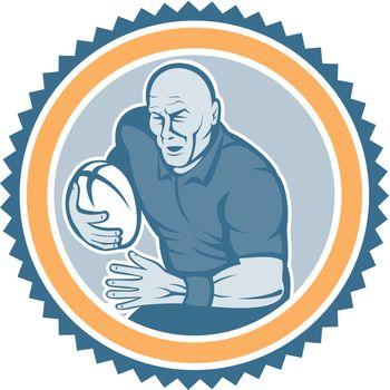 Rugby Player Running Ball Rosette Cartoon