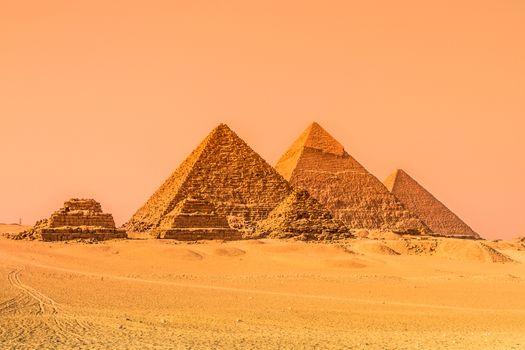 The pyramids of Giza, Cairo, Egypt.