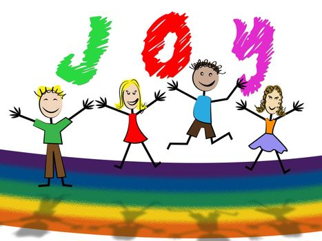 Joy Kids Indicating Jubilant Toddlers And Fun