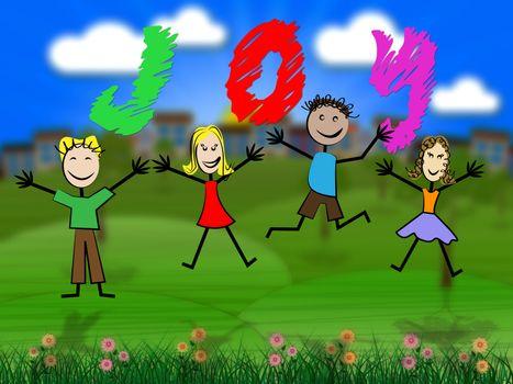 Kids Joy Indicating Joyful Childhood And Youngsters