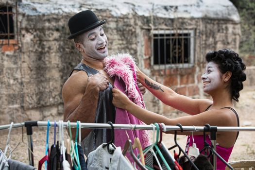 Cirque Clowns Fitting Costumes