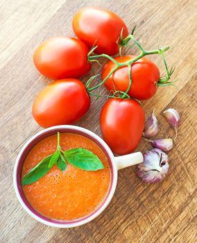 Bowl of tomato soup gaspacho