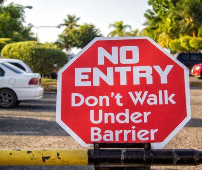 No Entry sign at parking border