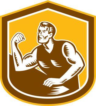Arm Wrestling Champion Woodcut Shield