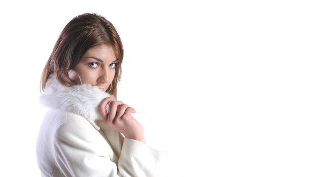 pretty woman in white coat