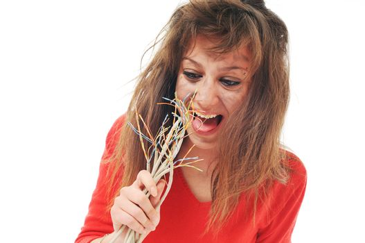 young woman with dark face electrical explosion shock concept connect