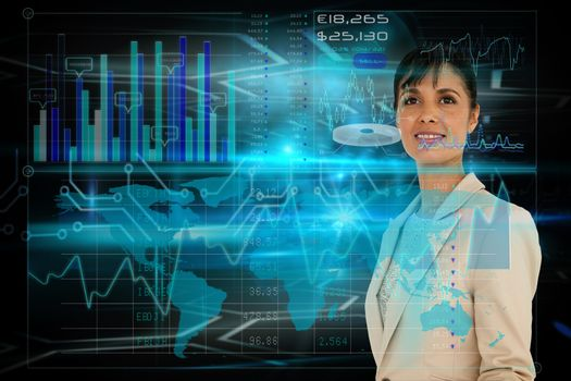 Businesswoman with interface