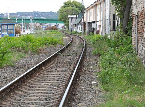 Railway through slum