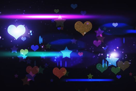 Cool nightlife design with hearts and stars