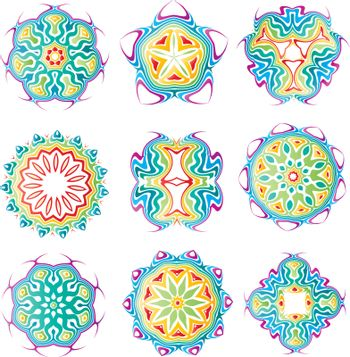 Beautiful colorful abstract flower elements