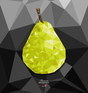 Abstract polygon background with pear for creative design