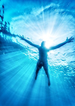 Happy swimming in the sea