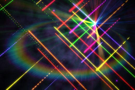 Digitally generated disco laser background