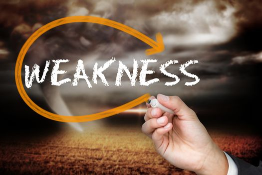 Businesswoman writing the word weakness