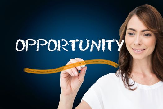 Businesswoman writing the word opportunity